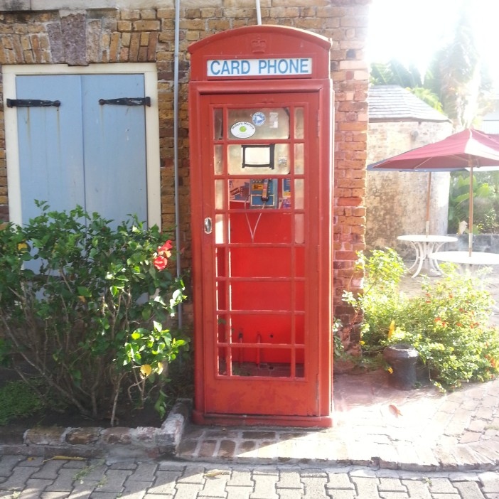 Traditional English Phone Box inside the Nelson's Dockyard, Antigua