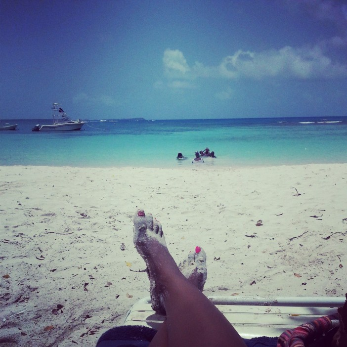 Chilling from my beach chair at Long Bay, Antigua