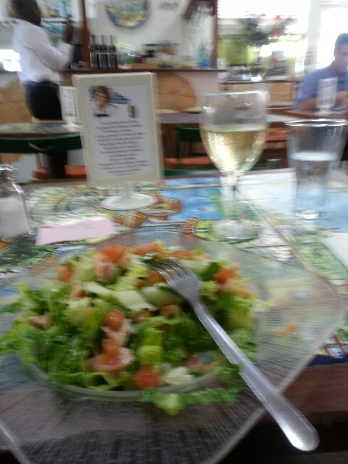 Salad and Wine. Had to go light after the KFC :)