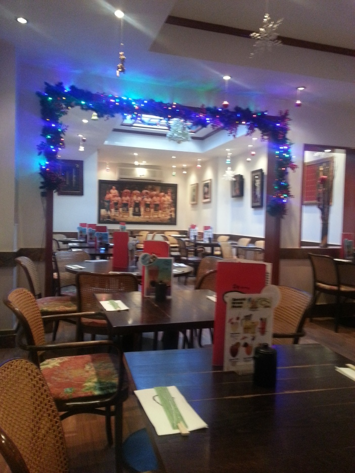 My favourite restaurant taking Christmas decorations seriously!